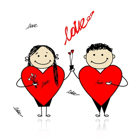 Valentine day. Couple with big red hearts for your design Vector