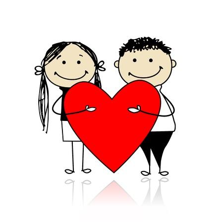 Valentine giorno. Coppia con grande cuore rosso per la progettazione Archivio Fotografico - 12015172