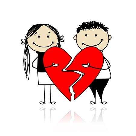 boyfriend: Valentine d�a. Pareja con dos piezas de gran coraz�n rojo