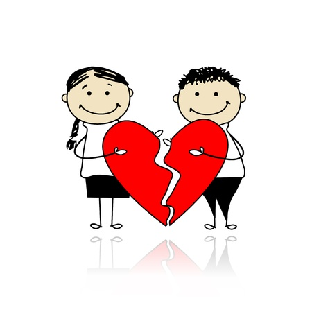 Valentine day. Couple with two parts of big red heart Vector