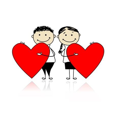 enamorados caricatura: Valentine día. Pareja con grandes corazones rojos para el diseño de su