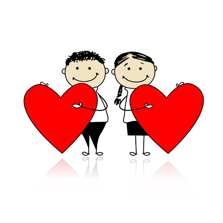 Valentine day. Couple with big red hearts for your design