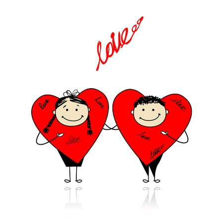 Valentine day. Funny hearts together for your design Vector