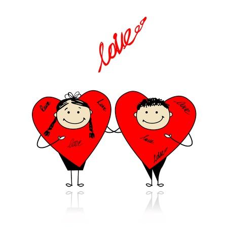 Día de San Valentín. Corazones divertida juntos para su diseño