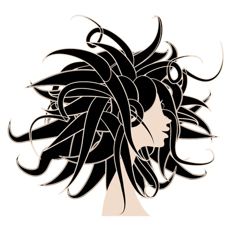 hair black color: Woman head for your design