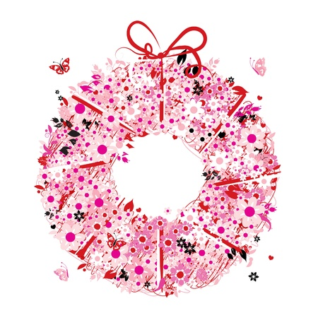 pink bushes: Floral wreath for your design