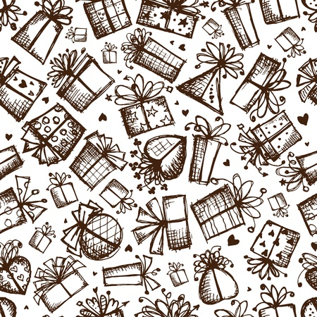 christmas wrapping paper: Gift boxes, seamless background for your design
