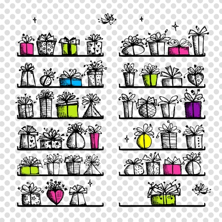 Gift boxes on shelves, sketch drawing for your design  Vector