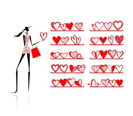 Valentine day. Girl in shop with hearts  Vector