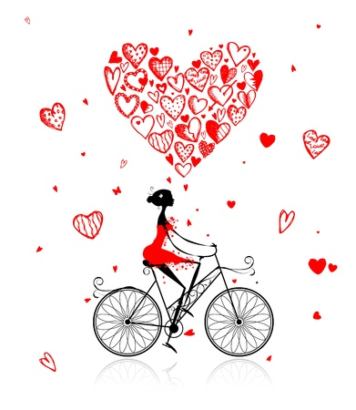 cycle ride: Girl cycling with big red heart for valentine day