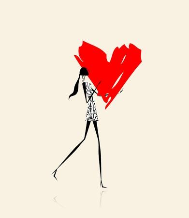 tacones rojos: Día de San Valentín. La joven de gran corazón rojo
