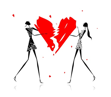 Valentine day. Girls with broken heart Vector