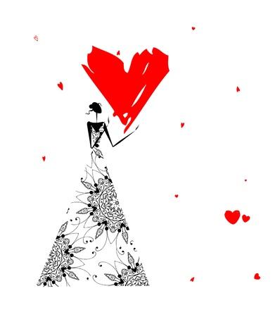 donna farfalla: Valentine giorno. Ragazza con grande cuore rosso
