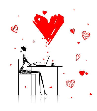 internet dating: Valentine day. Girl with laptop in cafe Illustration
