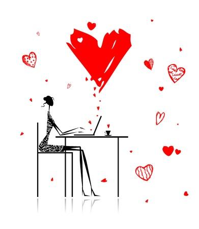internet cafe: Valentine day. Girl with laptop in cafe Illustration