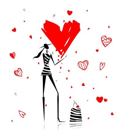 バレンタインの日。大きな赤いハートとファッションの女の子