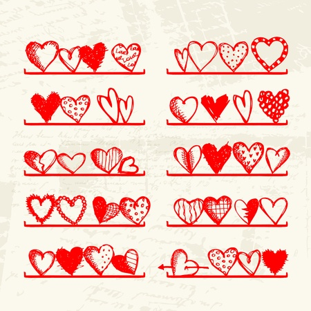 sweet love: Funny hearts on shelves, sketch drawing for your design