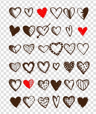 dessin coeur: Jeu de valentine pour votre conception Illustration