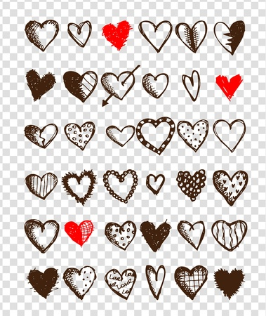 heart drawing: Set of valentine hearts for your design