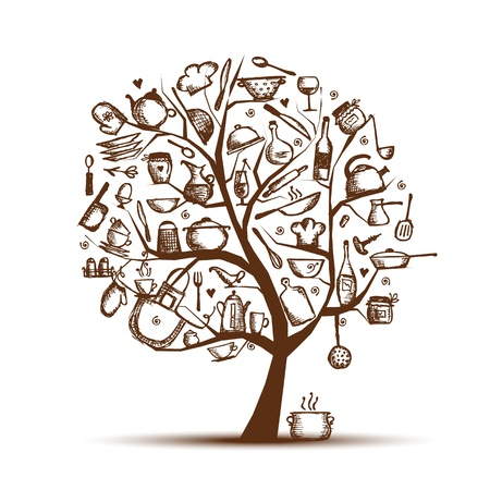 Art tree with kitchen utensils, sketch drawing for your design  Vector