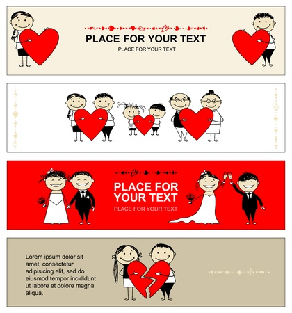 love couple cartoon: Valentine day. Collection of banners for your design