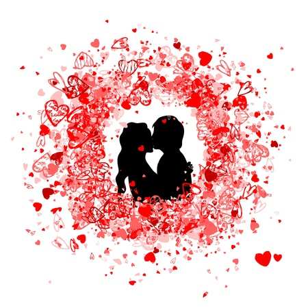 wedding couple silhouette: Valentine frame design with couple silhouette