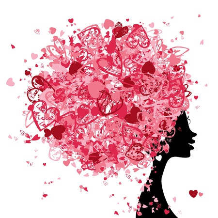 fashion sketch: Female head with hairstyle made from tiny hearts for your design Illustration