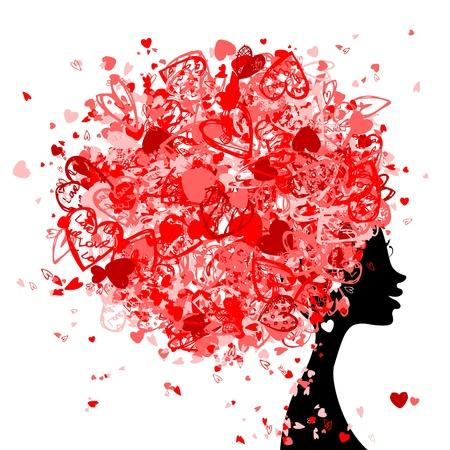 diminuto: Cabeza de mujer con el peinado hecho de peque�os corazones para su dise�o