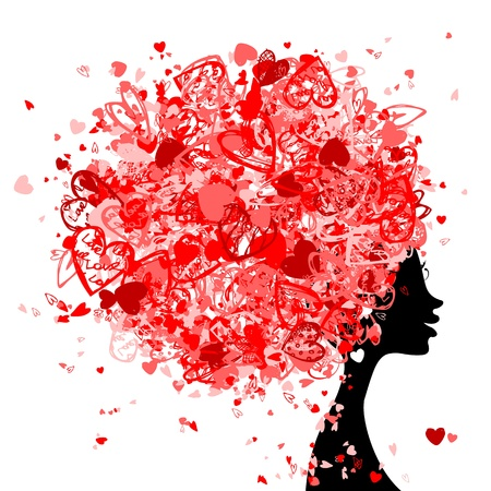 beautiful hair: Female head with hairstyle made from tiny hearts for your design Illustration