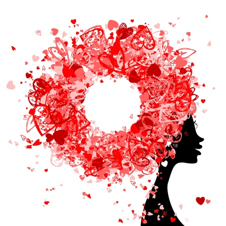 woman profile: Female head with hairstyle made from tiny hearts for your design Illustration