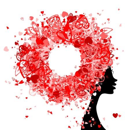 visage femme profil: T�te de femme avec la coiffure fabriqu�s � partir de petits c?urs pour la conception de votre Illustration