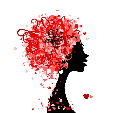red head girl: Female head with hairstyle made from tiny hearts for your design Illustration
