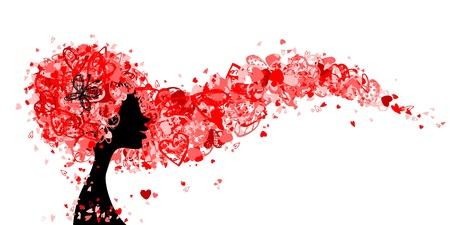 pelo rojo: Cabeza de mujer con el peinado hecho de pequeños corazones para su diseño