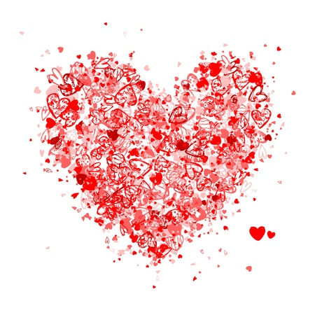 painted image: Valentine heart shape for your design
