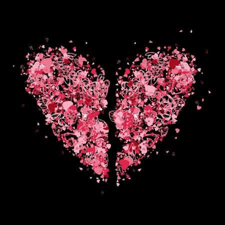 torn heart: Broken heart shape for your design