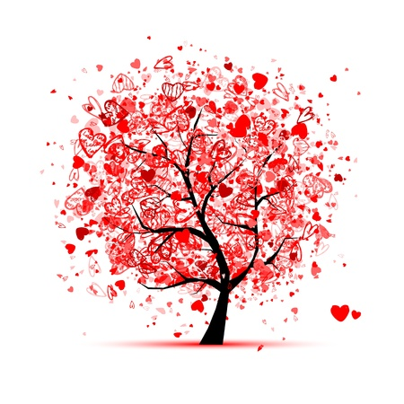 Valentine tree with hearts for your design Ilustração