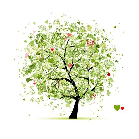 un arbre: Arbre de la Saint-Valentin avec des coeurs pour la conception de votre