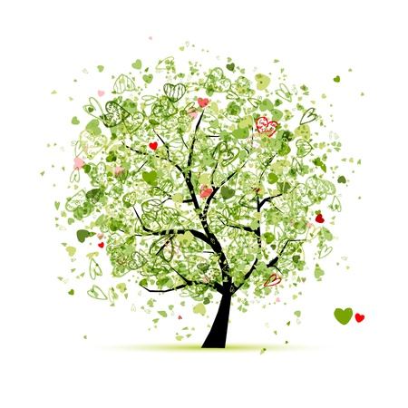 painted image: Valentine tree with hearts for your design Illustration