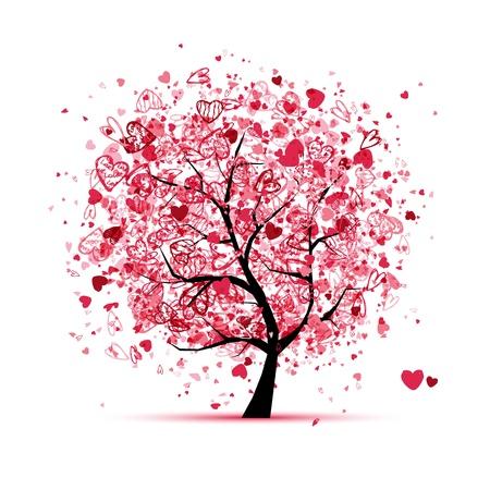 Valentine Baum mit Herzen für Ihr Design Vektorgrafik