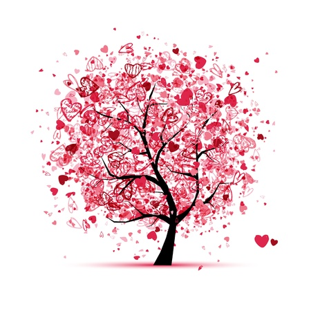 Valentine tree with hearts for your design Illustration