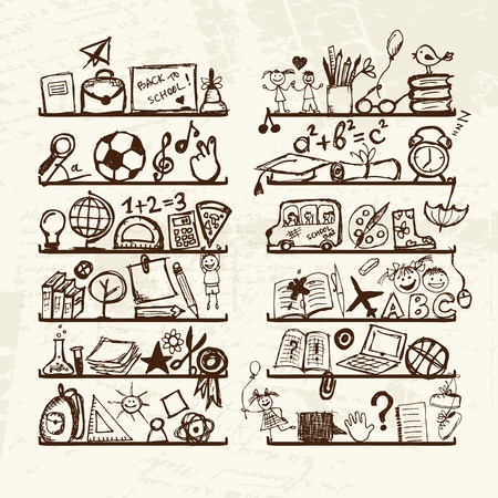 Objects for school on shelves, sketch drawing for your design  Vector