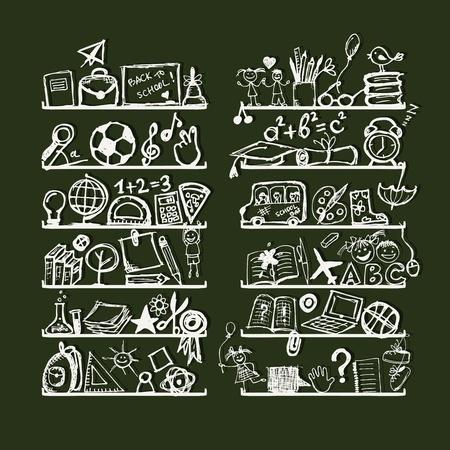 fizika: Tárgyak iskola polcok, vázlat rajz a design