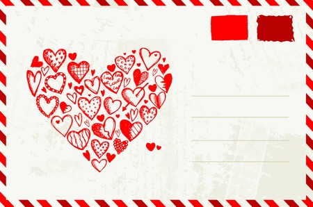 old envelope: Valentine envelope with red heart sketch and place for your text