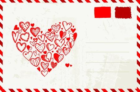 postmark: Valentinstag Umschlag mit rotem Herz Skizze und Platz f�r Ihren Text