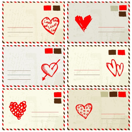 Valentine envelope with red heart sketch and place for your text Vector