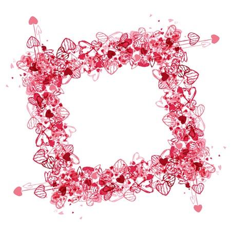 saint valentin coeur: Valentine cadre de conception, de place pour votre photo ou texte Illustration