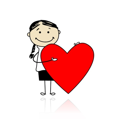 Cute girl with valentine heart, place for your text  Vector