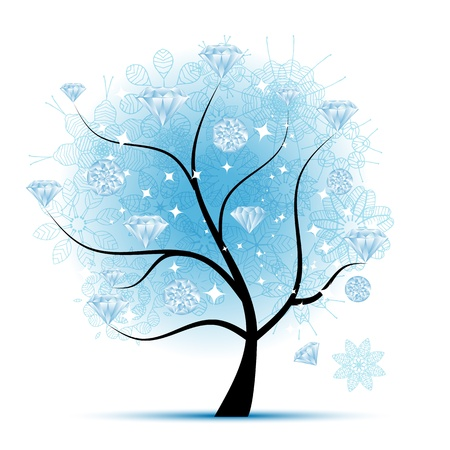 diamonds isolated: Winter tree with diamonds for your design Illustration