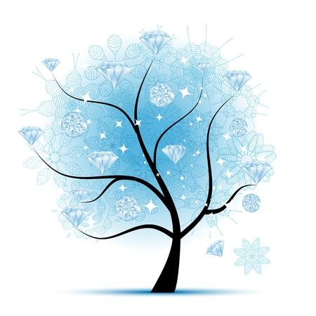 diamond stones: Winter tree with diamonds for your design Illustration