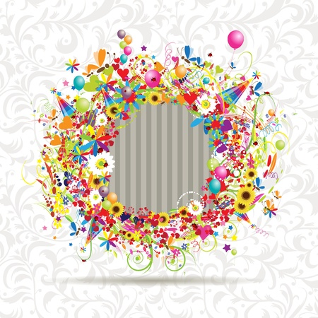 Happy holiday, funny frame, insert your photo here  Vector